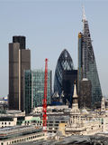 City of London one of the leading centres of global finance.This view includes Tower 42 Gherkin,Willis Building, Stock Exchange. Tower and Lloyd`s of London and royalty free stock photography