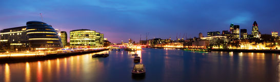City of London panorama. London skyline at twilight. (including City Hall, Gherkin, Tower 42, and HMS Belfast royalty free stock photo