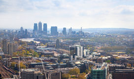 City of London panorama. Canary Wharf in morning hours Stock Image