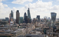 City of London panorama. Canary Wharf in morning hours Stock Images