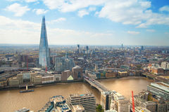 City of London panorama includes Shard of glass on the River Thames Royalty Free Stock Images