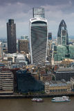 City of London panorama with modern skyscrapers. Gherkin, Walkie-Talkie, Tower 42, Lloyds bank. Business and banking aria Stock Photos