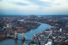 City of London panorama in sunset. First night lights Royalty Free Stock Photos