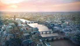 City of London panorama in sunset. River Thames and bridges Stock Photography
