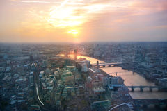 City of London panorama in sunset. River Thames and bridges Stock Photos