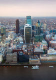 City of London panorama at sunset. Stock Photos