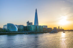 City of London panorama in sunset. Stock Image