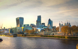 City of London panorama in sunset. Stock Photos