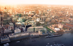 City of London panorama in sunset. Royalty Free Stock Photo