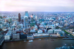 City of London panorama in sunset. Royalty Free Stock Image