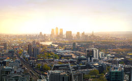 City of London panorama in sunset. Stock Images