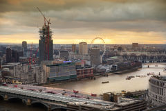 City of London panorama, at sunset Royalty Free Stock Photo