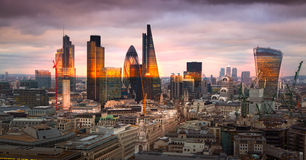 City of London panorama, at sunset Stock Images