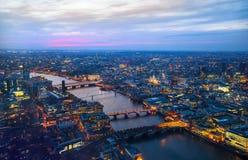 City of London panorama, at sunset Royalty Free Stock Image