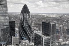 City of London. Panoramic view from the 32 floor of London's skyscraper Stock Images