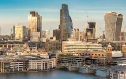 City of London and River Thames cityscape - high angle Royalty Free Stock Images