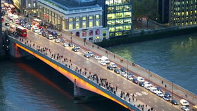 City of London, River Thames and London Bridge at night. LONDON, UK - JANUARY 27, 2015: City of London, River Thames and London Bridge wit lots of cars and stock video footage