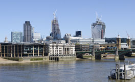 City of London  with River Thames and Southwark Bridge Royalty Free Stock Image