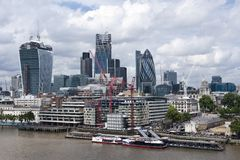 The City of London. The City's developing skyline, showing 20 Fenchurch Street (160m) and 122 Leadenhall Street (225m) under construction. Shot in July 2013 Stock Image
