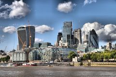 The City of London`s Financial Sector. On the banks of the River Thames Stock Photos
