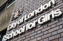 City of London School Sign. LONDON, ENGLAND - MAY 10, 2014:  Sign outside the City of London School for Girls in the Barbican.  The independent fee-paying school Royalty Free Stock Photos