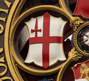City of London Shield. The famous symbol of the City of London with the cross of St George and the Red Sword in the top left quadrant. This device can be found Stock Photo