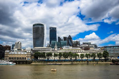 City of London. Shows such iconic buildings including 20 Fenchurch street (the 'walkie talkie'), 30 St Mary Axe (the 'Gherkin') and 122 Leadenhall Street (the Stock Images