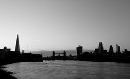 City of London Silhouette Black and White Royalty Free Stock Photography