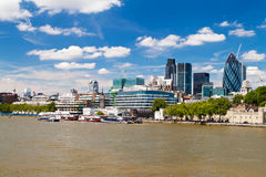 The City of London skyline. In a clear summer day Royalty Free Stock Photo
