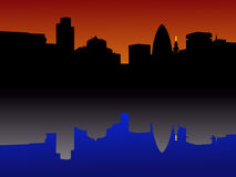 City of London Skyline. Reflected at sunset Stock Image
