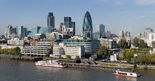 City of London skyline. The City of London skyline as viewed from the south side of the Thames at elevation stock photography