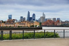 City of London skyline. Capital city of the UK. Seen from Canary Wharf royalty free stock photo