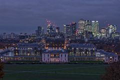 The City of London Skyline at dusk. England royalty free stock photography