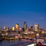 The City of London skyline at dusk Royalty Free Stock Images