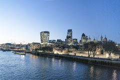 City of London skyline in the evening - London England  UK. City of London skyline in the evening - London England - United Kingdom Stock Images