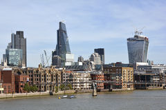 City of London Skyline. Including new Cheesegrater and Walkie Talkie buildings Royalty Free Stock Photography