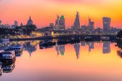 City of London skyline, London, UK. City of London skyline at sunrise with St. Paul basilica and modern skyscarpers, London, UK Royalty Free Stock Image