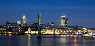 City of London Skyline at Night. Part of the City of London Skyline at night from across the River Thames Stock Photography
