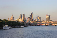City of London skyline with river Thames. City of London skyline  over river Thames with Embankment on the left side Royalty Free Stock Photos