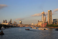 City of London skyline with river Thames. City of London skyline at dusk over river Thame Stock Photography