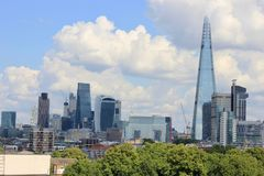 City of London skyline with Shard skyscraper. City of London skyline with skyscrapers and the Shard Stock Photo