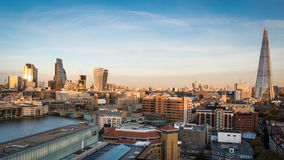City of London skyline and the Shard. Wide angle panoramic view of the London skyline including the City of London and River Thames left and the Shard Building Stock Photos