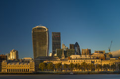 City of London Skyline at sunset. The London skyline office buildings of the city district at sunset Stock Photography