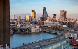 City of London skyline and Tate Modern at dusk Stock Image