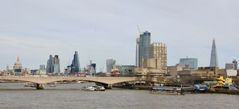 City of London skyline. The city of London skyline, Waterloo bridge over Thames river Royalty Free Stock Images