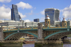 City of London and Southwark bridge Stock Photography