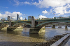 City of London and Southwark bridge Royalty Free Stock Photography