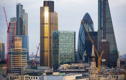 City of London at sunset. Famous skyscrapers City of London business and banking aria view at dusk. London, UK Stock Photo