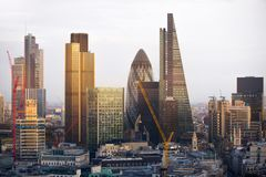 City of London at sunset. Famous skyscrapers City of London business and banking aria view at dusk. London, UK Royalty Free Stock Photo
