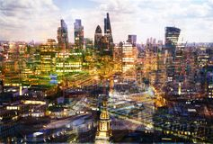 City of London at sunset. Multiple exposure image includes City of London financial aria. London, UK. City of London at sunset. Multiple exposure image includes Royalty Free Stock Photo